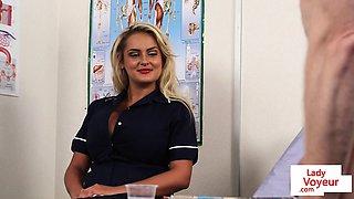 Voyeur nurse gives jerking off instrcutions