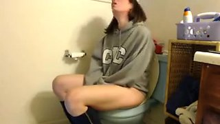 Crazy girl in toilet