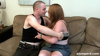 Chubby chick with glasses seduced by a nasty lover
