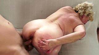 Chubby big tit granny gets fingered and her hairy old bush nailed