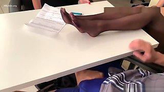 Naomi and Dava Pantyhose Feet Teasing a Guy