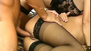 Stunning white bitches in black lingerie boned hard in threesome