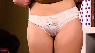 Sweet virgin teen showing girlish panties