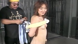 Cute Asian completely bounded with cameltoe