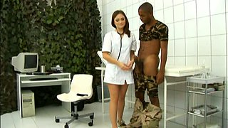 Lovely well shaped nurse Lola gets nailed doggy by black soldier