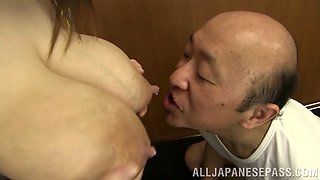 Dirty old Japanese guy gets horny feeding on her breast milk