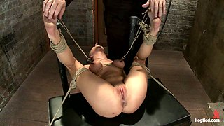 Bound On Her Back, Nipples Tied To Her Big Toes. Finger Fucked To Orgasms, Vibrated, Caned & Abused - HogTied