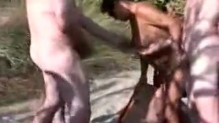 Naked mature amateur woman having fun with big fat cocks outdoors