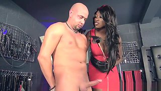 Lucky slave with ebony mistress
