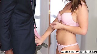 Natural tits brunette gets fucked from boss