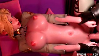 Horny big boobs 3D babe rides big dick after BJ