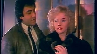 Delicious and lean vintage blondie in black lingerie seduced and fucked