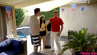 Stepdad has the honor of fucking slutty stepdaughter Whitney Wright and her GF
