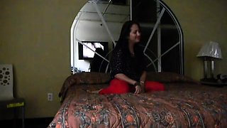 Amateur brunette milf enjoys an intense fucking on the bed