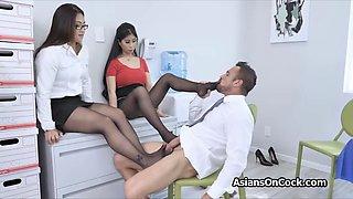 Asian secretaries sharing cock at the office