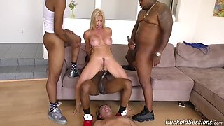 cuck is sprayed with alexis fawx's squirt during black gangbang