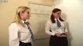 Smoking college girls give a handjob
