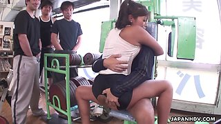 Beautiful and nusty Asian slut fucked by fellas in the gym