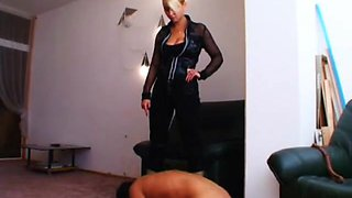 Mean Russian mistress has fun abusing her submissive