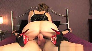 Mistress T milks tied man