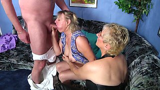 Old couple enjoys having dirty threesome sex for the first time