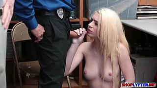 Tiny blonde thief Joseline punished for sex