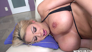 Blonde with big tits loves black cock