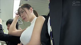 Pretty japanese milf abused on a train