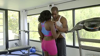 BBC drills sex-appeal big tittied spot chick Osa Lovely at the gym