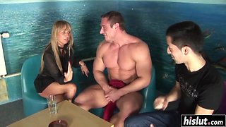 Pretty girl and two guys have fun