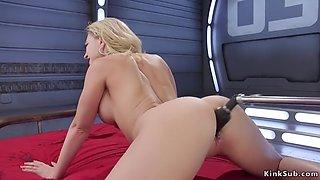 Big tits blonde in high heels fucks machine