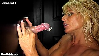 Blonde mature babe sucks off cocks from the glory hole