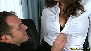 sensual jane trying to close a deal with james and letting him enjoy her huge boobs
