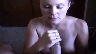 Cute blonde girlfriend works her mouth on a huge cock in POV