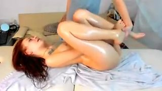 Small cute redhead tatoos oiled up sucking cock   fucked