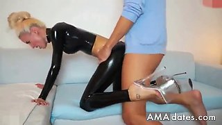 slim russian slut fucked in her ripped latex