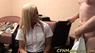 Blonde cfnm amateur shows