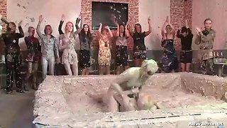 crazy mud wrestling lesbian porn clip