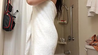 Wife showering  bathroom hidden cam