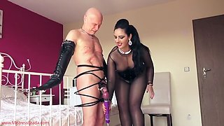 mistress finally lets her slave cum