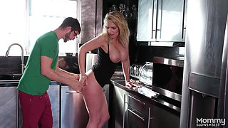 Huge-titted Rachael Cavali lets her fella slam her bosoms and face