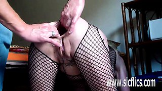Gigantic anal dildo fuck and fisting wife