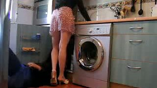 Lusty wife embarrasses lucky plumber flashing him her pussy