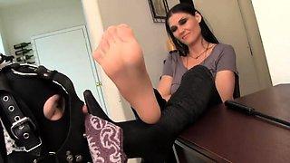 Dominant babe has a kinky crossdresser worshiping her feet
