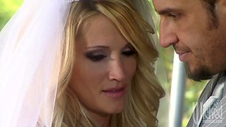 Delicious blond bride Nicole Ray is blowing big cock after wedding