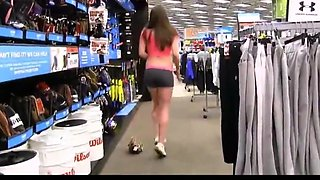 college girl flashing her pussy in the sport store
