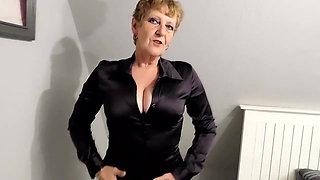 Open crotch panties and satin blouse