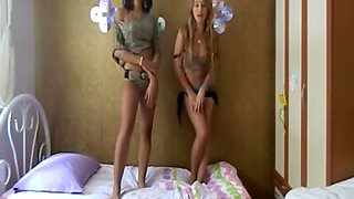 Two petite Turkish teen whores teasing me on webcam