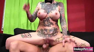 lusty tattooed emo sydnee vicious boned and cum on tits