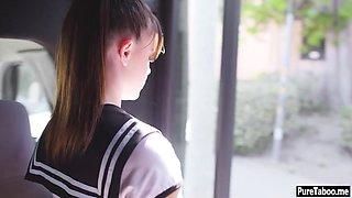 Cute schoolgirl petite teen tricked into a virtual sex